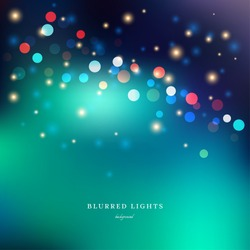Abstract vector Illustration.  Blurred  Lights on green background with bokeh effect and sparks.