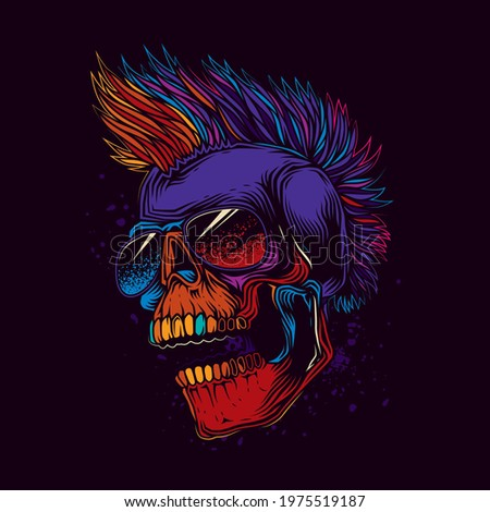 Abstract vector illustration. Crazy skull in dark glasses, with a punk rock hairstyle on his head. T-shirt design, stickers, print. Zdjęcia stock ©
