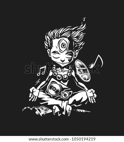 Abstract vector illustration of a boy with headphones, Hand Drawn Sketch Vector illustration.