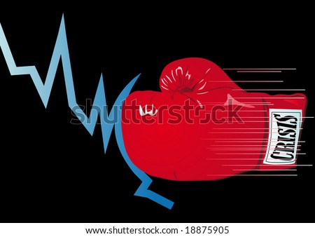 Abstract vector illustration of a graph being knocked out by a boxing glove