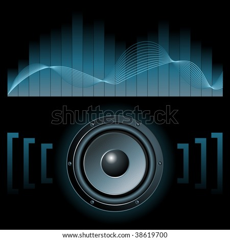 Abstract vector illustration of a speaker with graphic equalizer