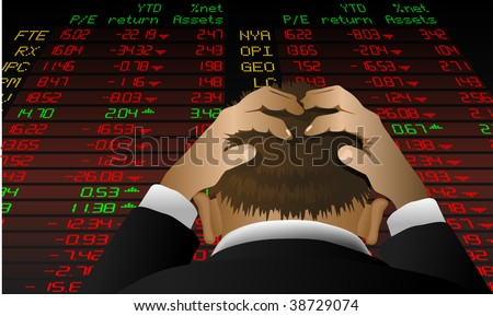 Abstract vector illustration of a stock broker looking at the stock exchange screen in despair