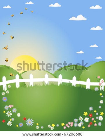 abstract vector illustration of a summer landscape with green hills white picket fence and bees and flowers in eps10 format