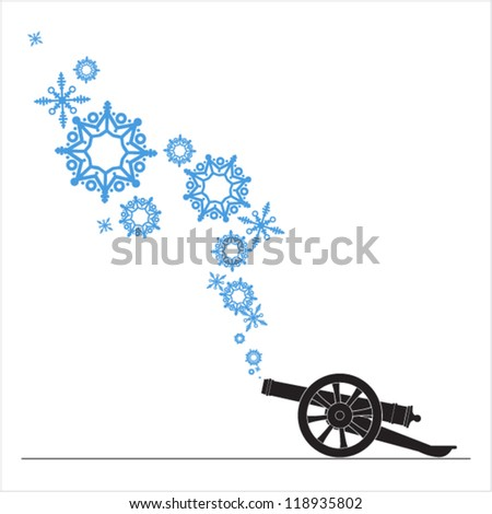 Abstract vector illustration of ancient artillery gun and snowflakes. - stock vector
