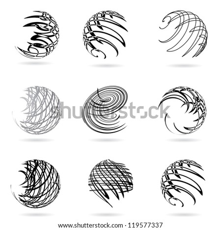 Abstract vector illustration of black and white spheres.