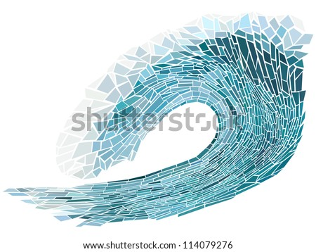 Abstract vector illustration of blue wave crest with foam isolated on white ( handmade stained glass window).