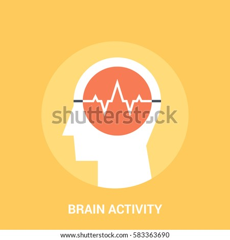 Abstract vector illustration of brain activity icon concept