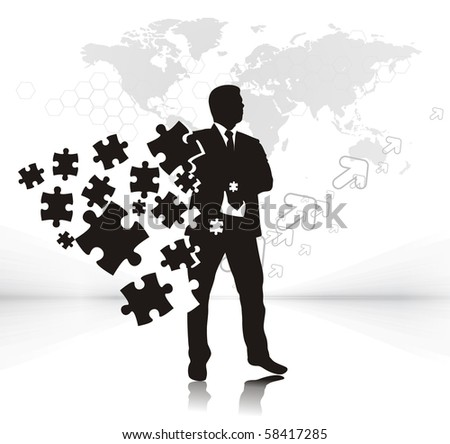 abstract vector illustration of business man with puzzle pieces.