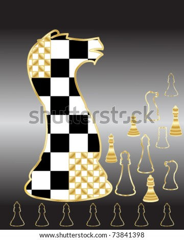 abstract vector illustration of chess pieces in black white and gold in eps 10 format