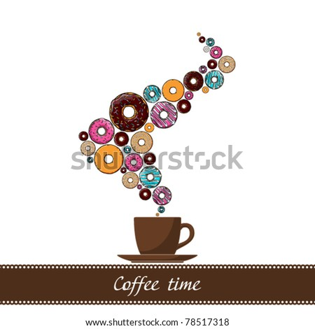 Abstract vector illustration of coffee-cup with donut. Place for your text.