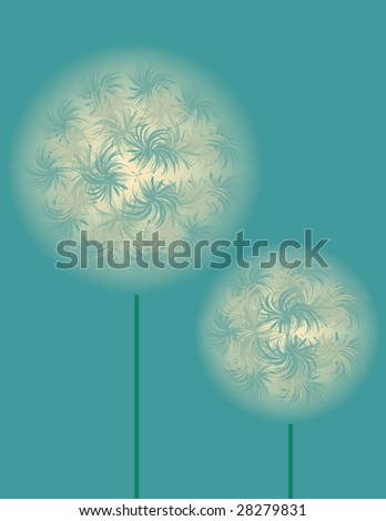 abstract vector illustration of dandelion on blue background