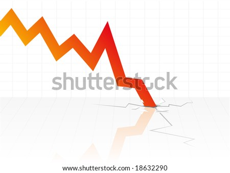 Abstract vector illustration of financial graphs crashing through the floor
