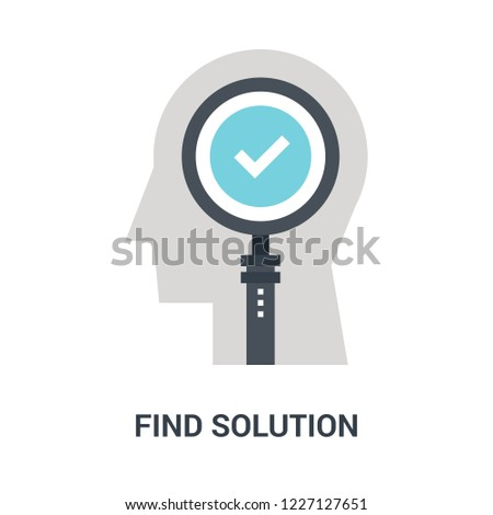 Abstract vector illustration of find solution icon concept
