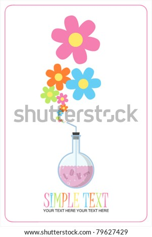 Abstract vector illustration of flask and flowers. Place for your text. - stock vector