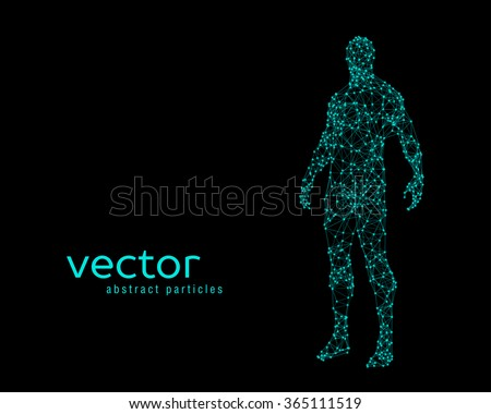 Abstract vector illustration of human body on black background Stockfoto ©