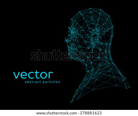 Abstract vector illustration of human head on black background