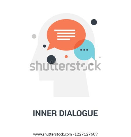 Abstract vector illustration of inner dialogue icon concept