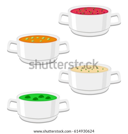 Abstract vector illustration of logo ceramic bowl, wide plate is filled with various homemade soups with noodles, mushrooms, vegetables. Soup set of four bowls with seasoning beetroot.Eat soup in Bowl