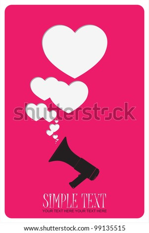 Abstract vector illustration of megaphone and hearts.