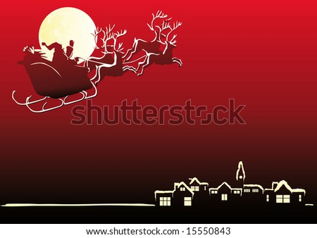 Abstract vector illustration of Santa Claus in his sleigh