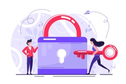 Abstract vector illustration of security icon, closed lock with key, concept of data protection - Vector