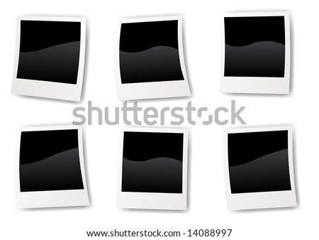 Abstract vector illustration of six different blank instant photo pictures