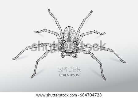 Abstract vector illustration of spider. line dot connection design. suitable use for Halloween. - line stroke weight editable