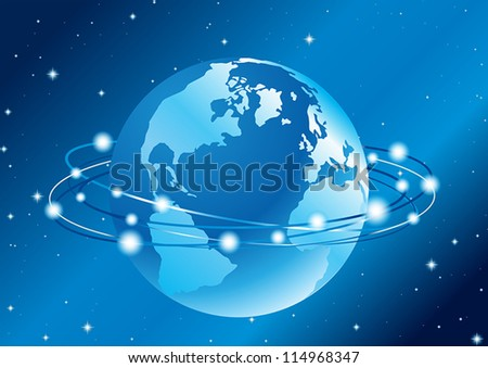 abstract vector illustration of the communication around the globe