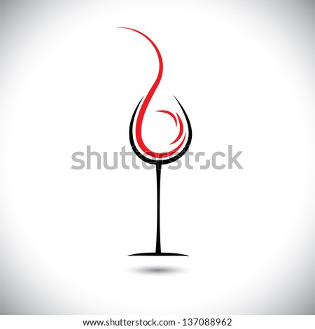 Abstract vector illustration of wine pouring(splash) into glass.