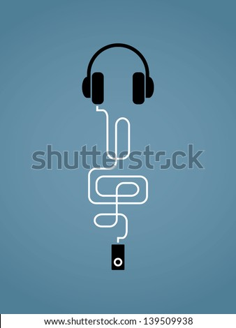 Abstract vector illustration on music theme with mp3 player, headphones and treble clef