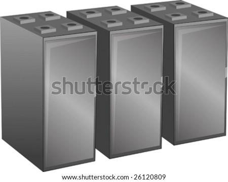 Abstract vector illustration Row of server cabinets as found in a data center