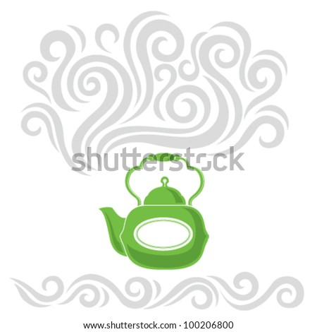 Abstract vector illustration with a bright teapot and hot steam - stock vector