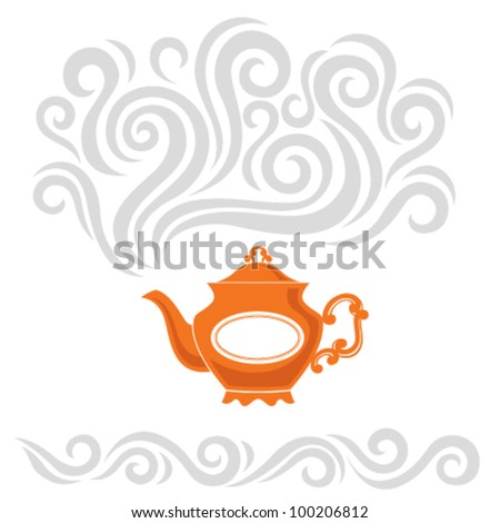 Abstract vector illustration with a bright teapot and hot steam