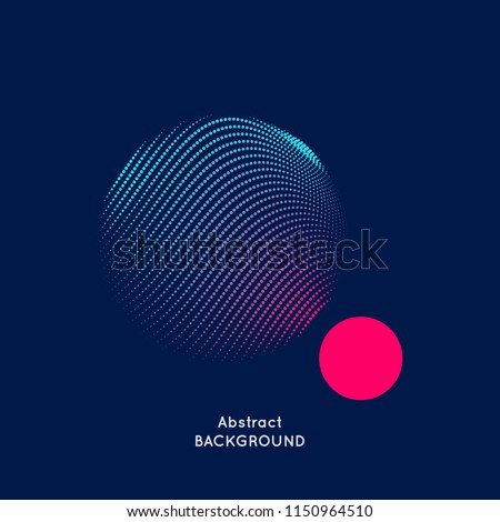 Abstract vector illustration with a circle of linear waves and dots.