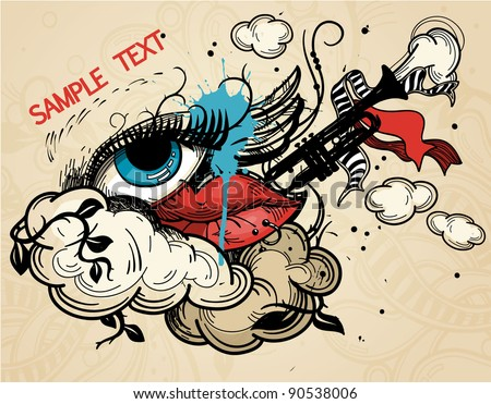 abstract vector illustration with a  colorful eye and lips in a vintage style