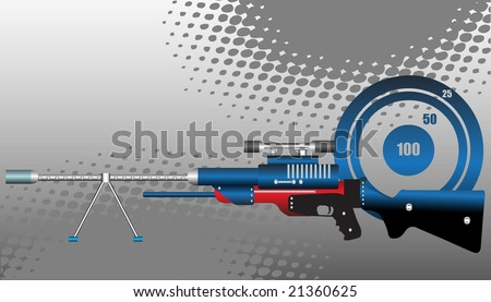 Abstract vector illustration with blue target and sniper rifle with precision lens scope