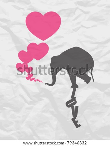Abstract vector illustration with elephant and hearts on a paper-background. - stock vector