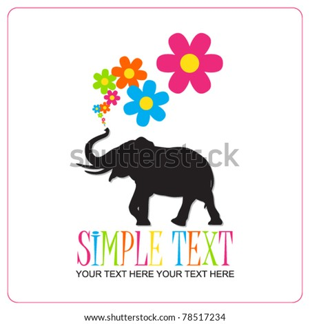 Abstract vector illustration with elephant and hearts. Place for your text.
