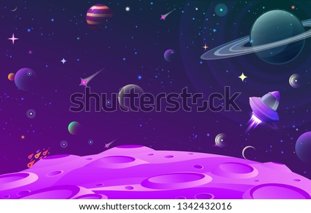 Abstract vector illustration with lunar ground illustration and open space