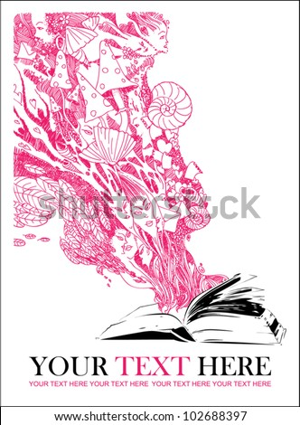 Abstract vector illustration with opened book and elements.