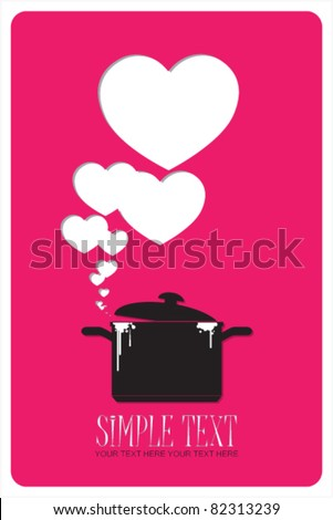 Abstract vector illustration with pan and hearts. Place for your text.