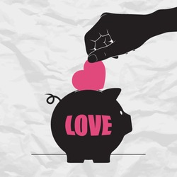Abstract vector illustration with piggy bank and heart.