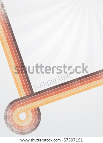 Abstract vector illustration with retro designed lines and gradient background with sunburst effect - stock vector