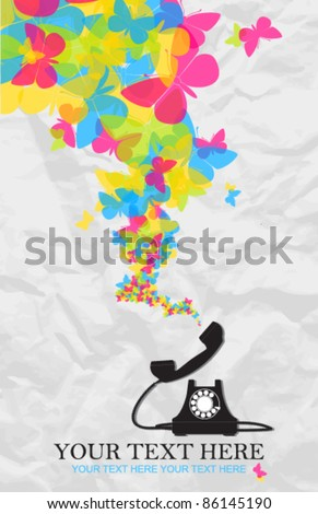 Abstract vector illustration with retro telephone and butterflies. Place for your text.