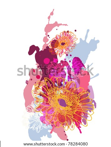 Abstract vector illustration with splash and flowers