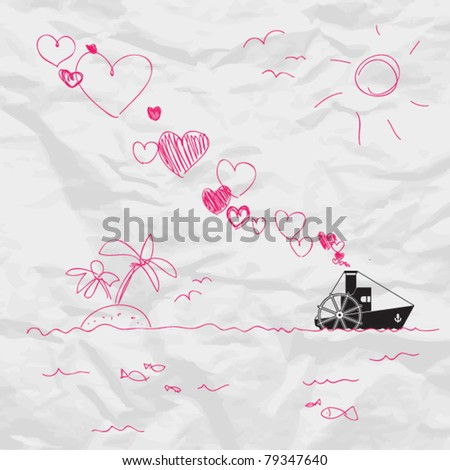 Abstract vector illustration with steamship and hearts on a paper-background. Place for your text.