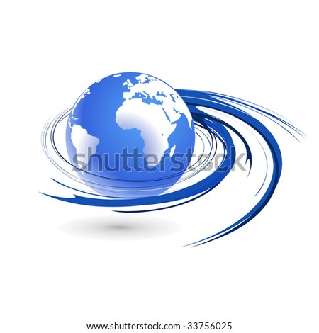 Abstract vector illustration with swirl globe