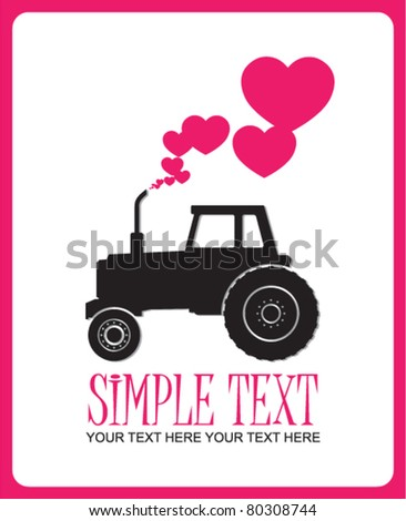 Abstract vector illustration with tractor and hearts. Place for your text.