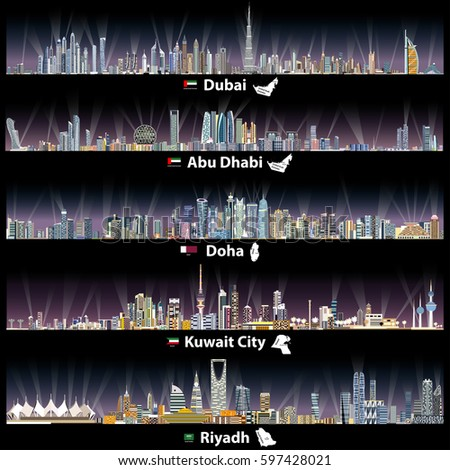 abstract vector illustrations of Dubai, Abu Dhabi, Doha, Riyadh and Kuwait city skylines at night with flags and maps of United Arab Emirates, Qatar, Kuwait and Saudi Arabia