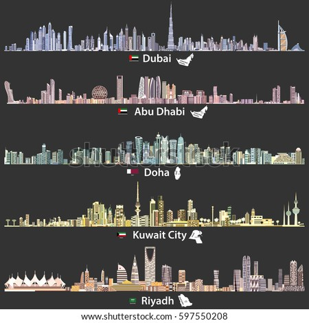 abstract vector illustrations of Dubai, Abu Dhabi, Doha, Riyadh and Kuwait city skylines at night in bright color palettes with flags and maps of United Arab Emirates, Qatar, Kuwait and Saudi Arabia